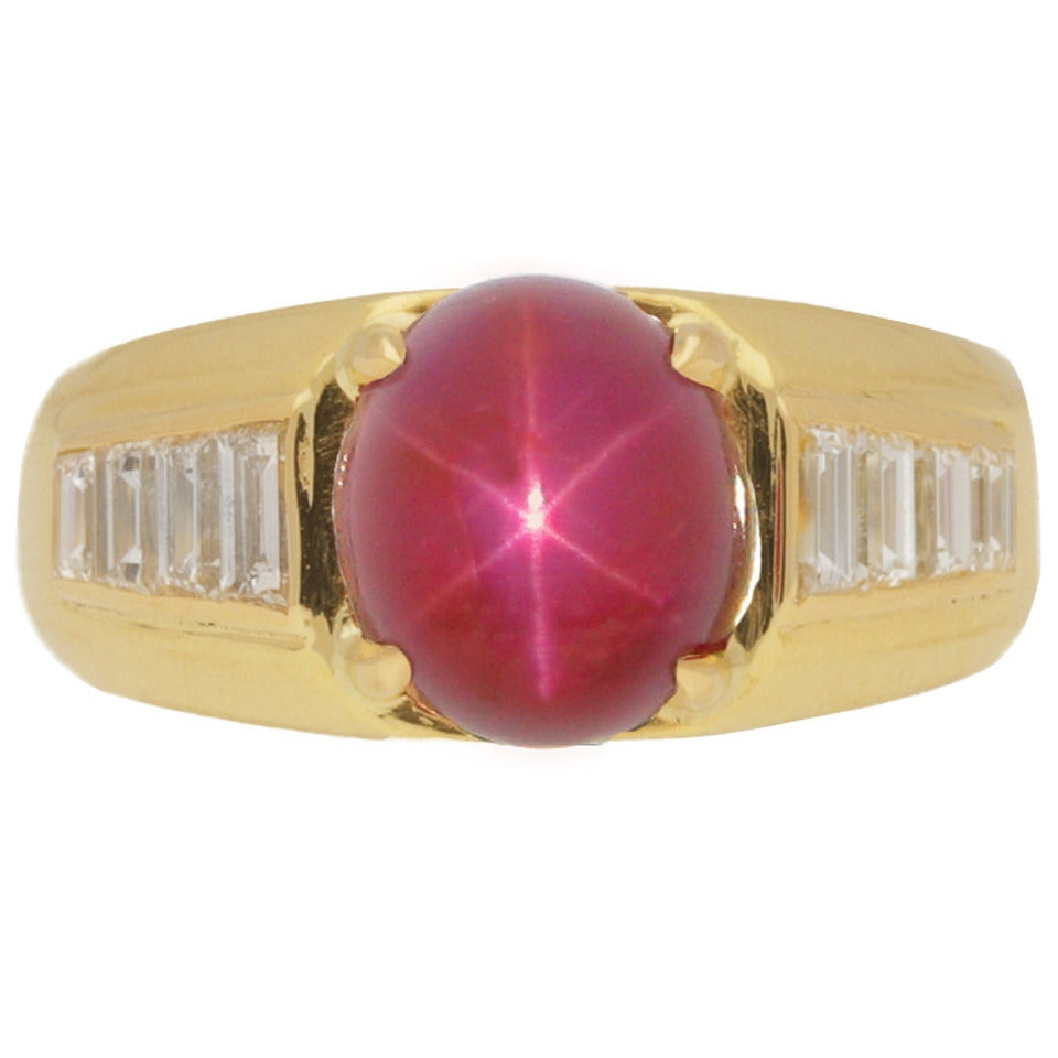 Van Cleef & Arpels Burmese unenhanced star ruby diamond Gold Ring For Sale