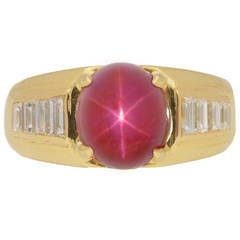 Van Cleef & Arpels Burmese unenhanced star ruby diamond Gold Ring