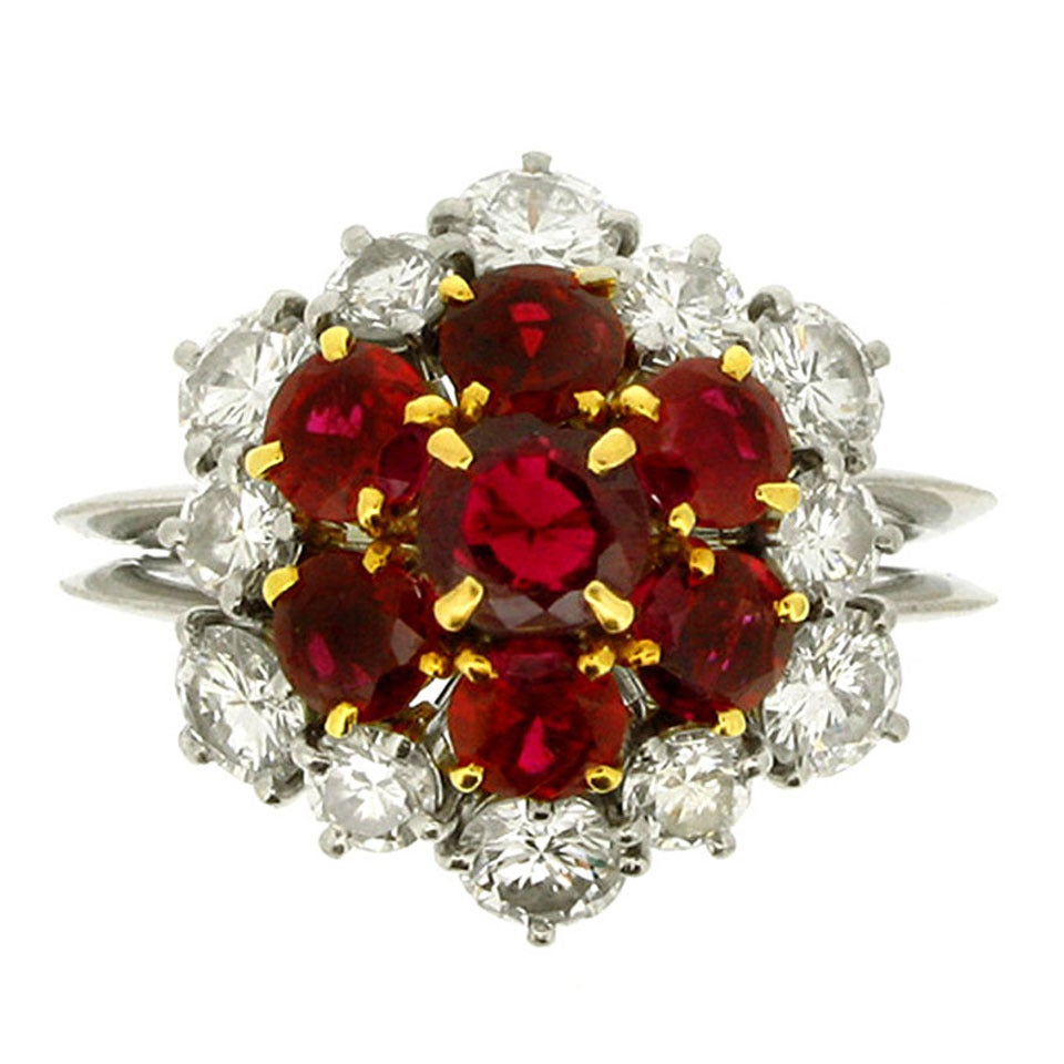 Boucheron Ruby Diamond Platinum Cluster Ring