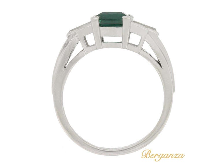 Gubelin Colombian Natural Unenhanced emerald and diamond ring, circa 1943. 3