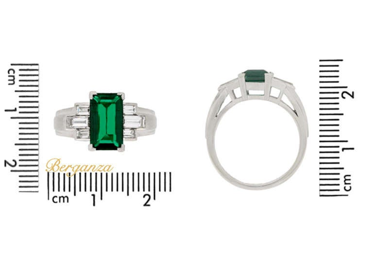 Gubelin Colombian Natural Unenhanced emerald and diamond ring, circa 1943. 5