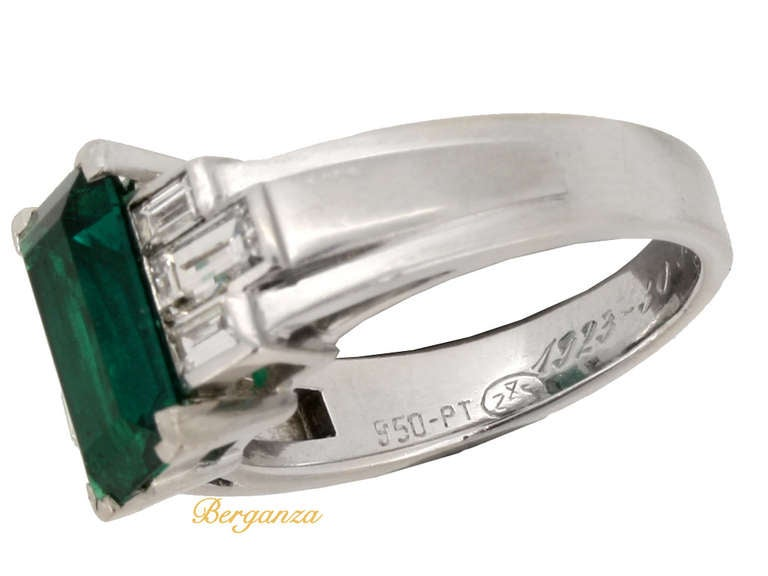 Gubelin Colombian Natural Unenhanced emerald and diamond ring, circa 1943. 4