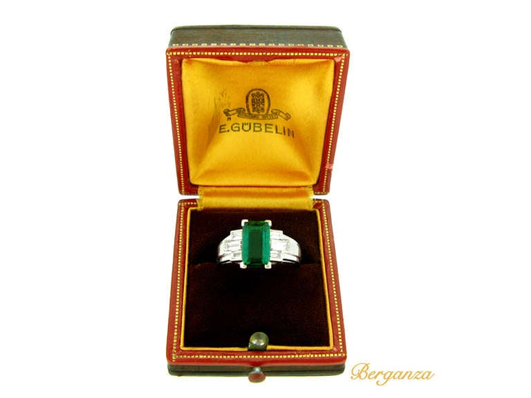 Gubelin Colombian Natural Unenhanced emerald and diamond ring, circa 1943. 6