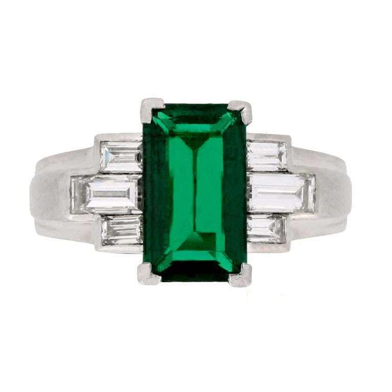 Gubelin Colombian Natural Unenhanced emerald and diamond ring, circa 1943.
