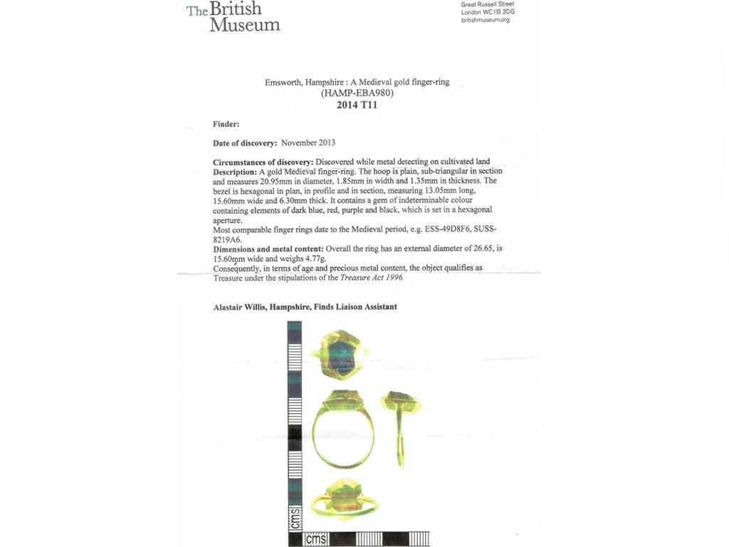 Medieval sapphire cabochon gold ring circa 14-15th century 5