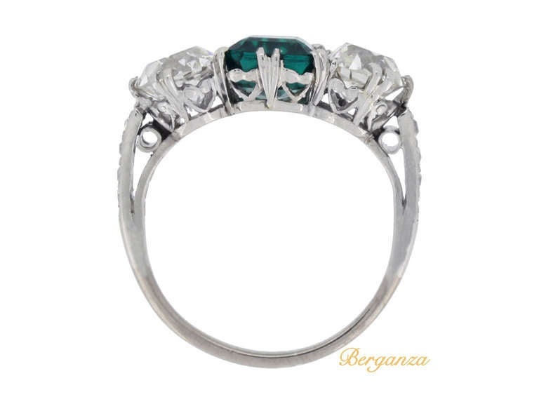 Natural Unenhanced Colombian emerald and diamond three stone ring