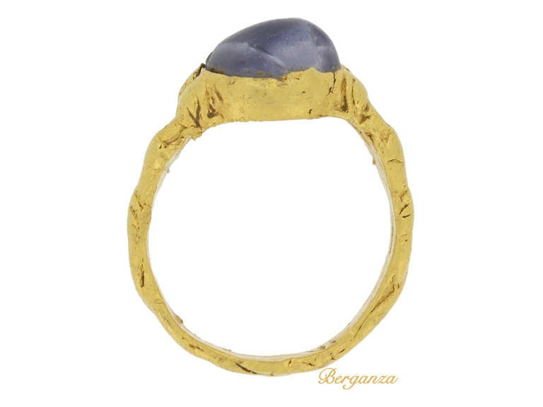 Medieval Zoomorphic Sapphire Gold Ring 3