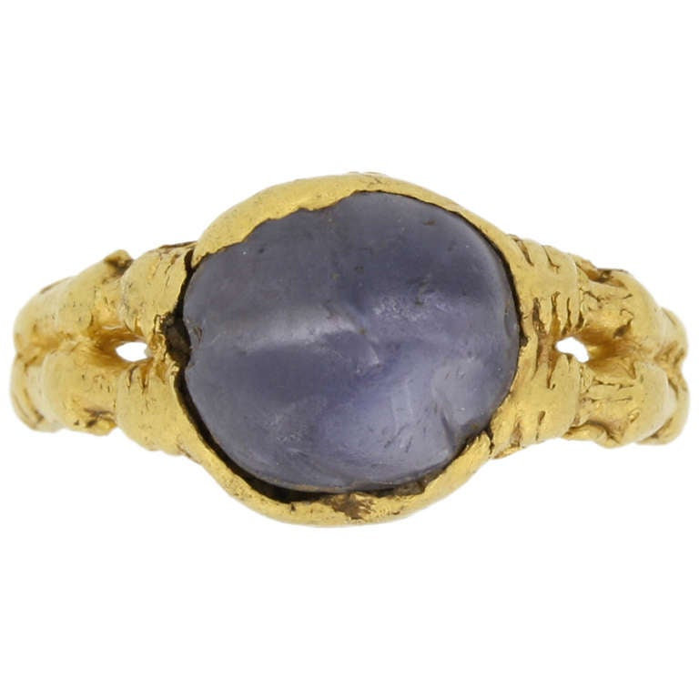 Medieval Zoomorphic Sapphire Gold Ring 1