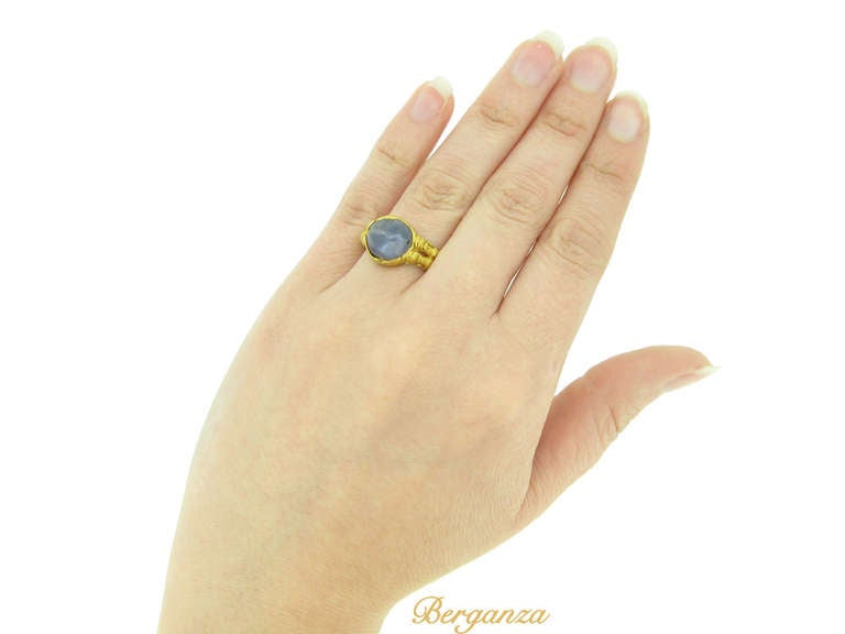 Medieval Zoomorphic Sapphire Gold Ring 5