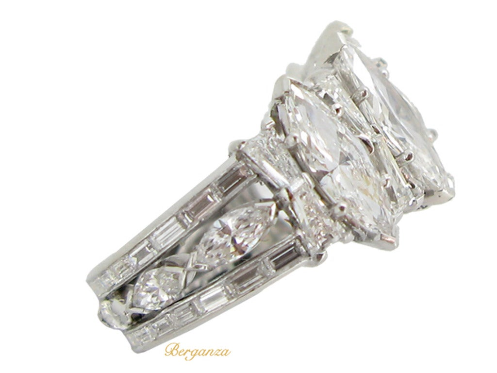1970s Marquise Diamond Platinum Five Stone Cluster Ring at