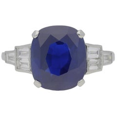 Art Deco Natural 5.47 Carat Royal Blue Ceylon Sapphire Diamond Three Stone Ring