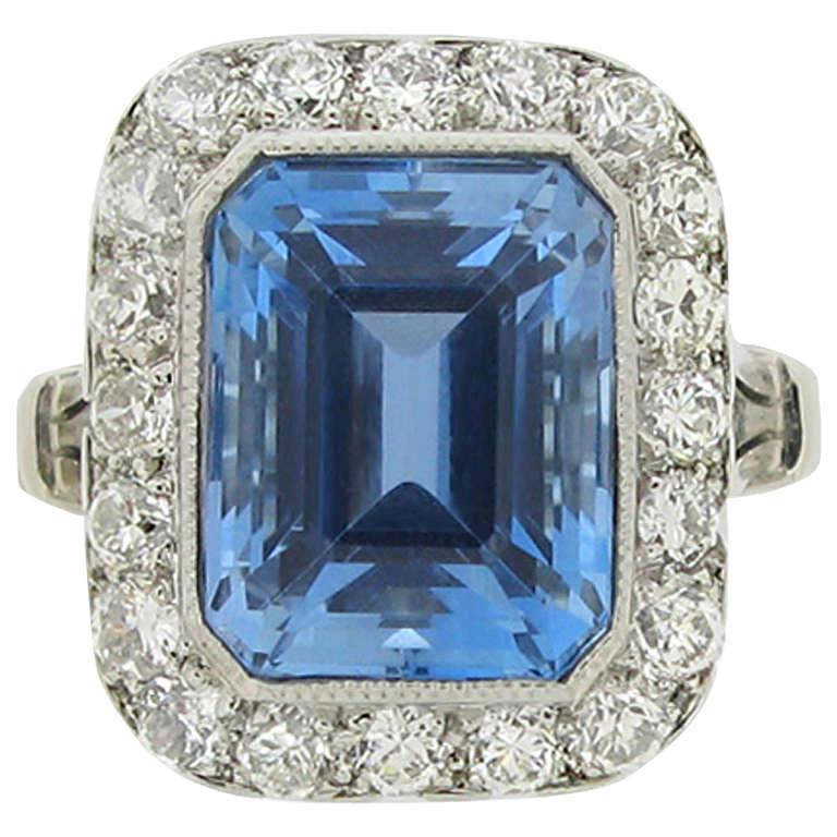 Natural Unenhanced Tiffany & Co. Aquamarine Diamond Cluster Ring