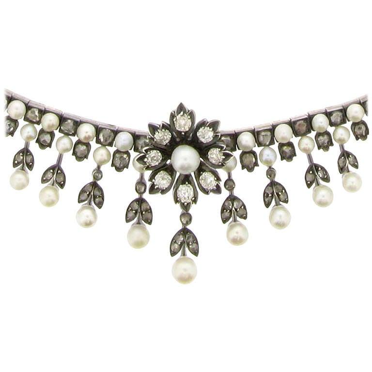 Antique Natural Pearl and Diamond Necklace Circa 1880