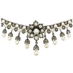 Antique Natural Pearl and Diamond Necklace, circa 1880