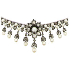 Antique Natural Pearl and Diamond Necklace Circa 1880