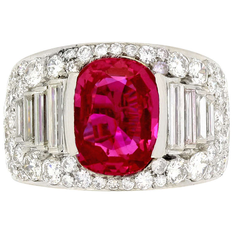 Bulgari Natural Unenhanced Burmese Ruby Diamond Ring