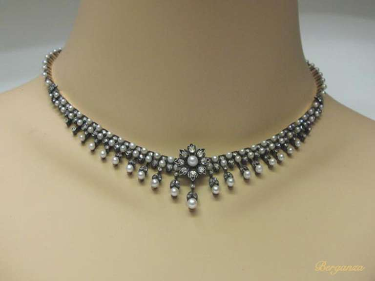 Women's Antique Natural Pearl and Diamond Necklace, circa 1880 For Sale
