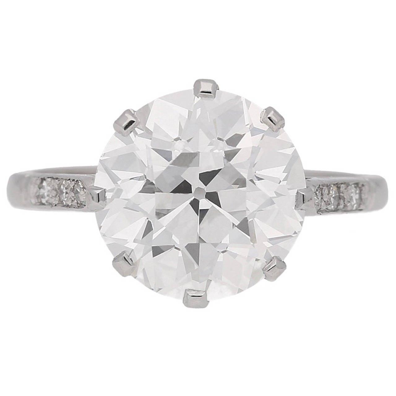 4.62 carat GIA Cert old cut diamond Platinum Solitaire Ring