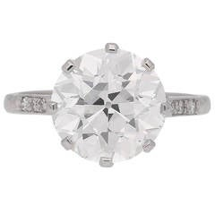 4.62 carat GIA Cert old cut diamond Platinum Solitaire Ring