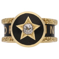 Victorian Enamel Diamond Gold Family Memorial Ring