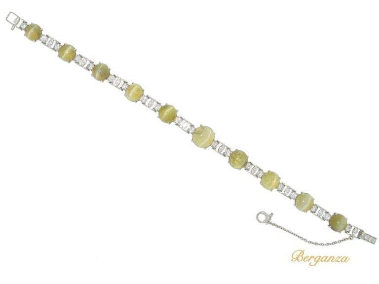 J.E. Caldwell Natural Unenhanced Chrysoberyl Cat's Eye and Diamond Bracelet 2