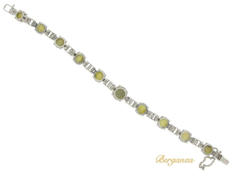 J.E. Caldwell Natural Unenhanced Chrysoberyl Cat's Eye and Diamond Bracelet 3