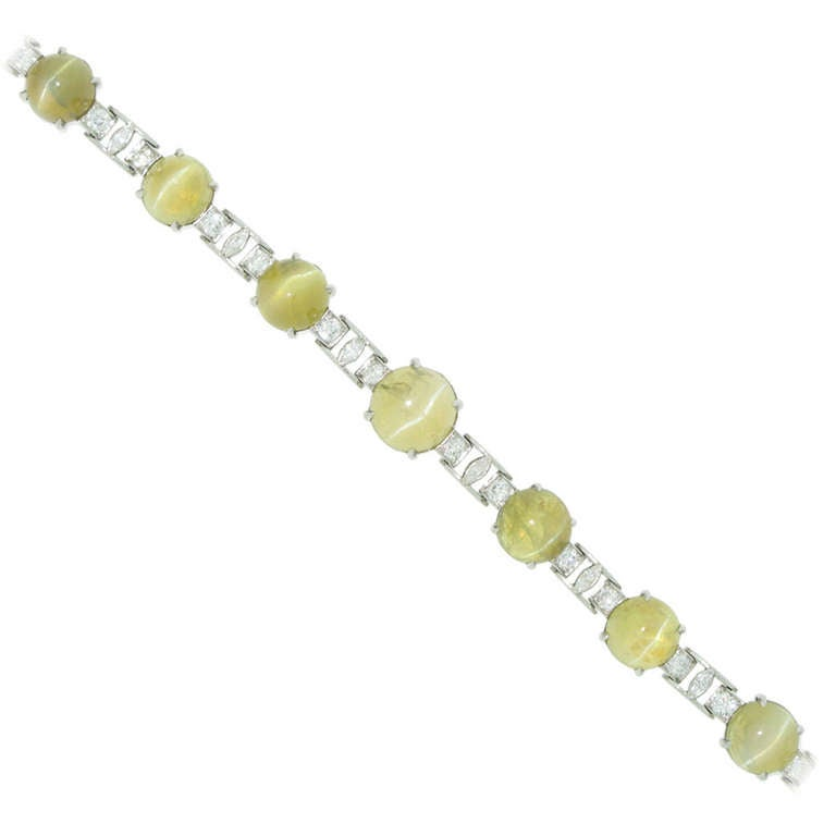 J.E. Caldwell Natural Unenhanced Chrysoberyl Cat's Eye and Diamond Bracelet 1