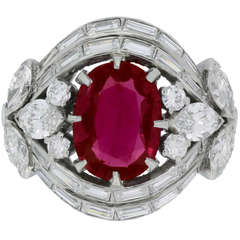 Natural Unenhanced Burmese Ruby and Diamond Cluster Ring