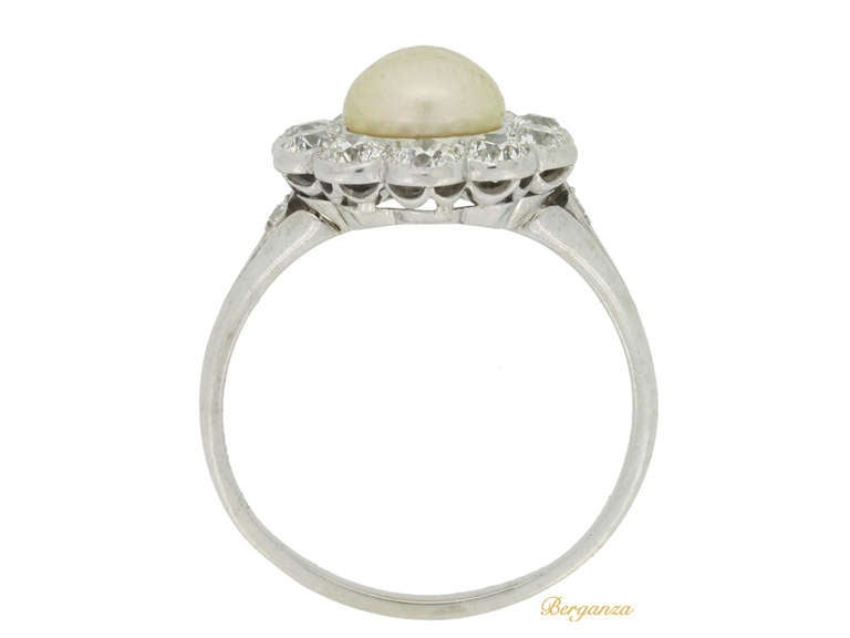 Tiffany & Co. Natural Pearl and Diamond Cluster Ring circa 1915 3
