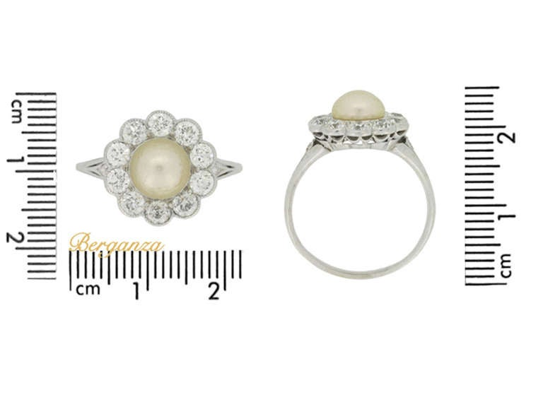 Tiffany & Co. Natural Pearl and Diamond Cluster Ring circa 1915 4