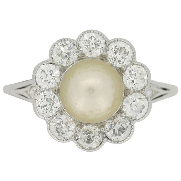Tiffany & Co. Natural Pearl and Diamond Cluster Ring circa 1915 1