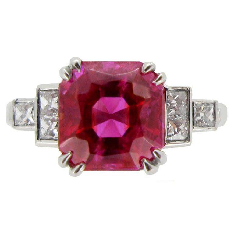 Art deco natural Burmese ruby and diamond ring, circa 1935.