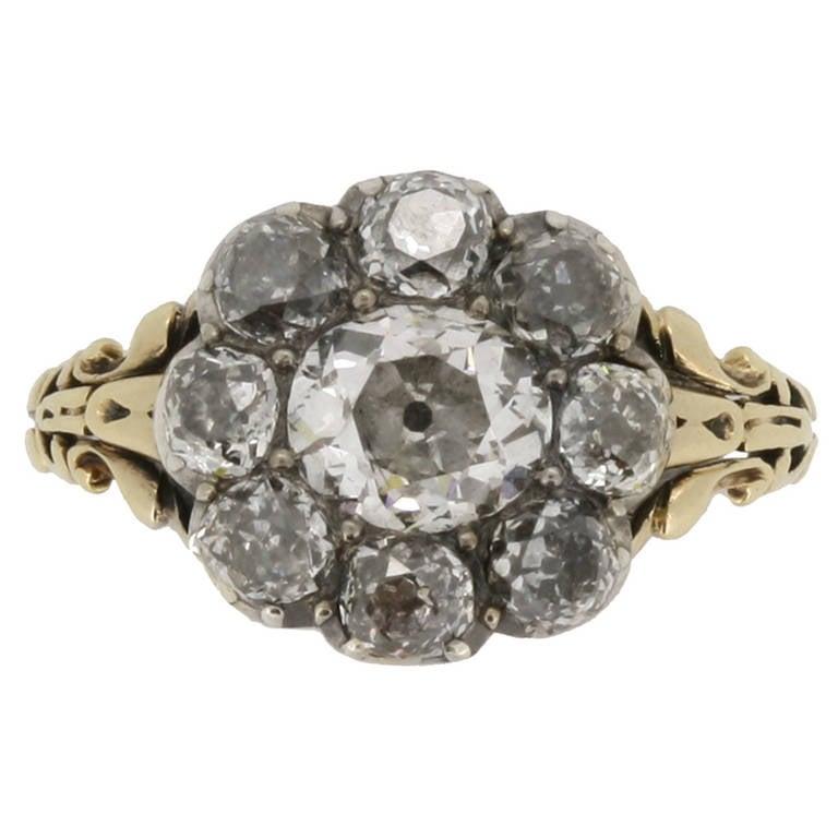 Georgian Diamond Cluster Ring circa 1830