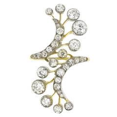 Art Nouveau diamond silver Gold Cocktail Ring