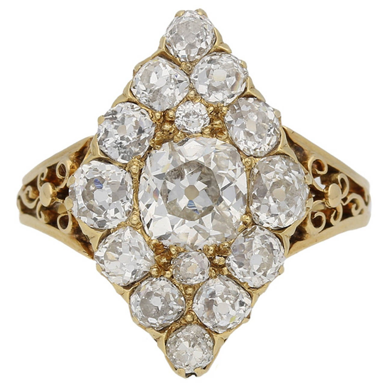 antique marquise shaped gold cluster ring for sale