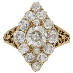 Antique Marquise Shaped Diamond Gold Cluster Ring