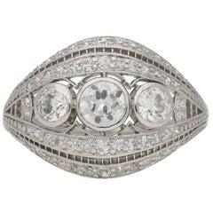 J. E. Caldwell Antique diamond Platinum cluster ring