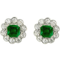 Natural Unenhanced Emerald Diamond Cluster Earrings circa 1920