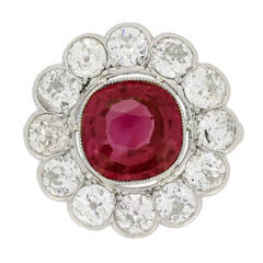 Natural unenhanced Burmese Ruby Diamond Platinum Cluster Ring