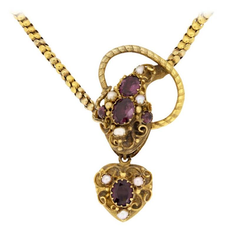 antique pearl garnet gold snake necklace at 1stdibs
