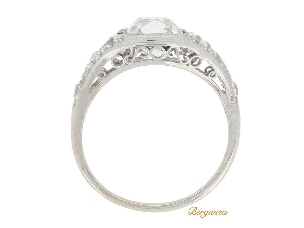Art Deco Diamond Platinum Engagement Ring 3