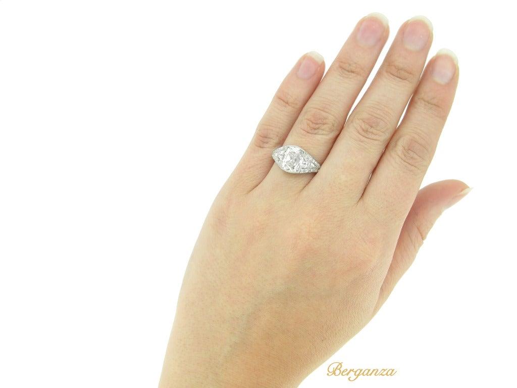 Art Deco Diamond Platinum Engagement Ring For Sale 1