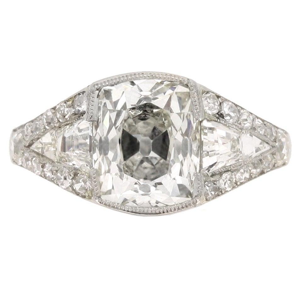 Art Deco Diamond Platinum Engagement Ring 1