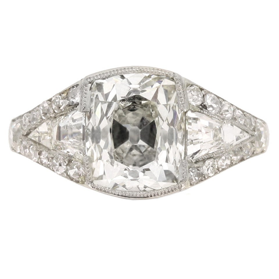 Art Deco Diamond Platinum Engagement Ring For Sale