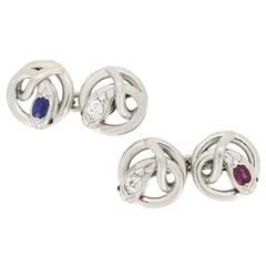 Ruby Sapphire Diamond Set Snake Cufflinks