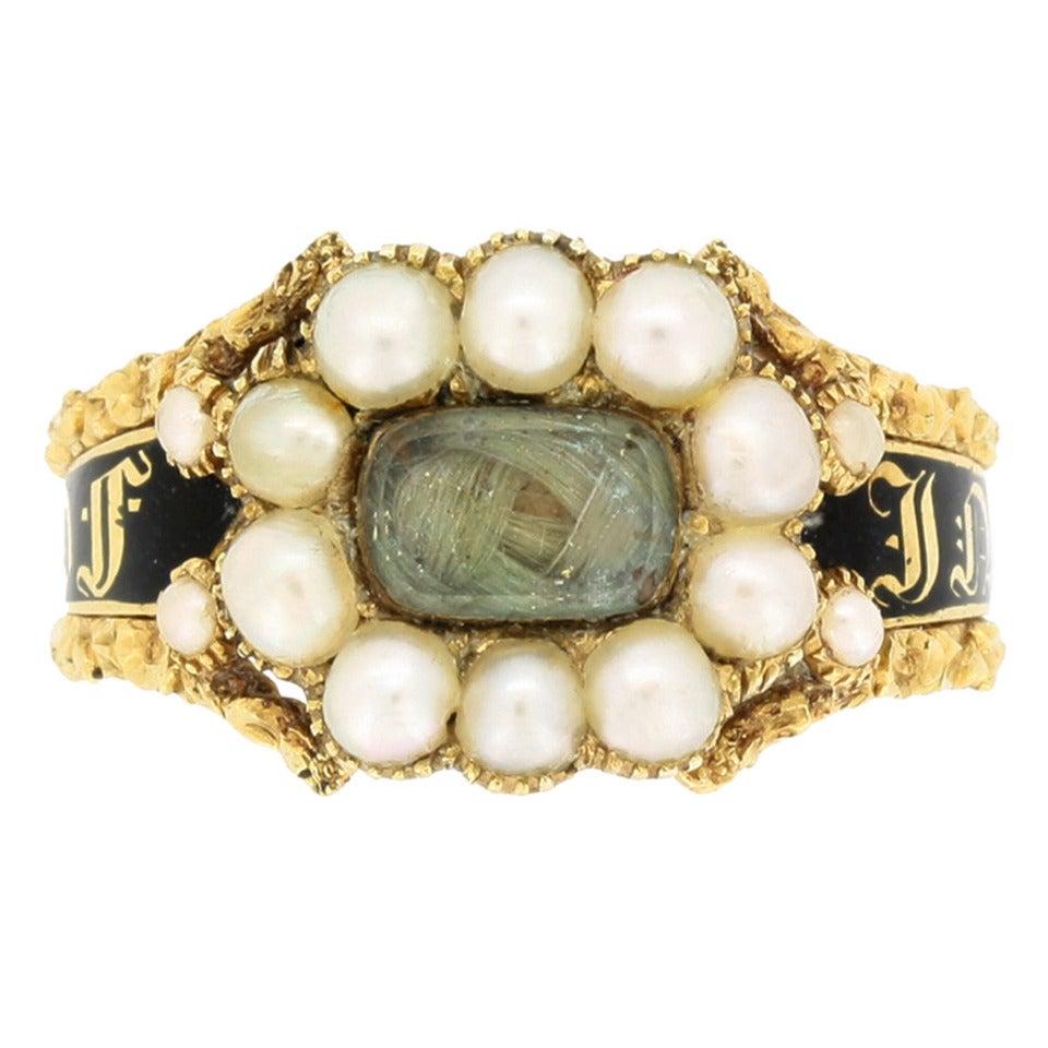 Museum Quality Antique Georgian Black Enamel Pearl Memorial Ring