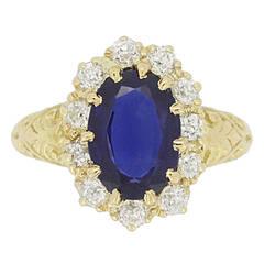 Joseph Harris Antique Natural Burmese Sapphire Diamond Cluster Ring