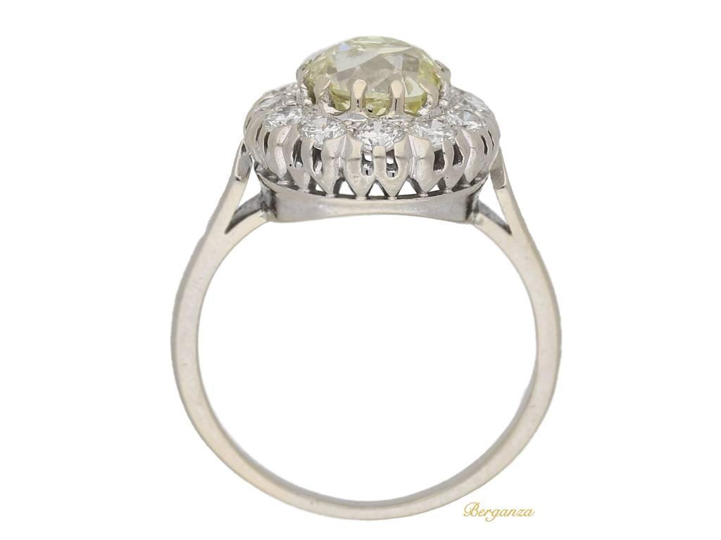 Fancy light yellow diamond cluster ring circa 1950 For Sale at 1stdibs