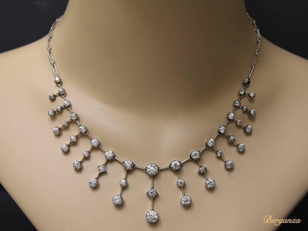 Victorian Antique Diamond Necklace Circa 1880 For Sale