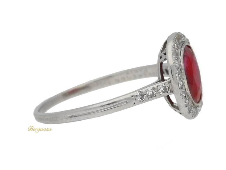 1920s Boucheron Natural Burmese ruby diamond platinum cluster ring  2